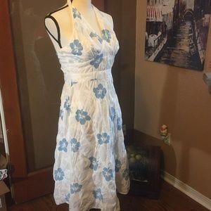 Donna Ricco blue white floral halter dress